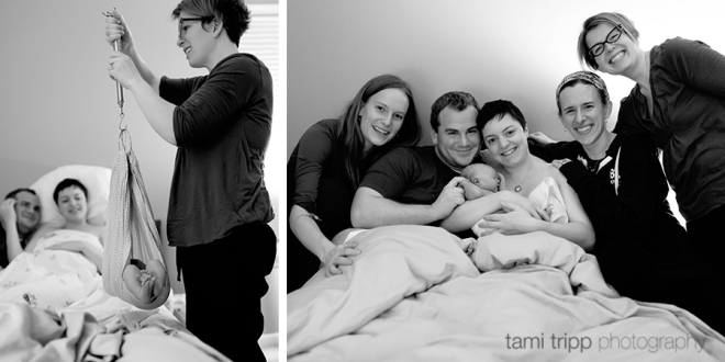 Getting weighed! And some birth team love. by Tami Tripp Photography